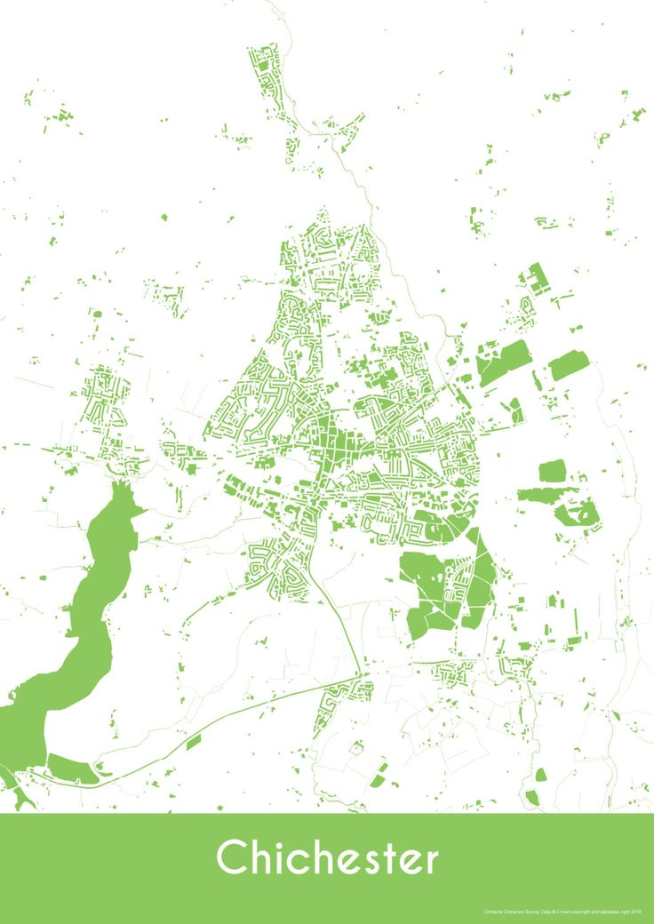 Chichester Map - Buildings - City Map Art Print of Chichester City, England by YourPlaces on Etsy