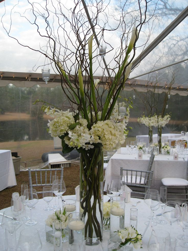 Tall centerpiece white hydrangea and curly willow with