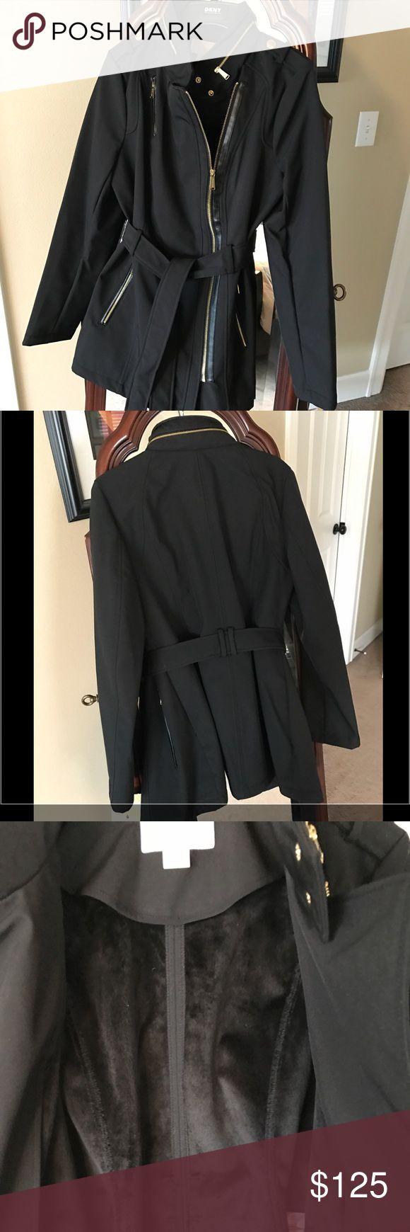 Michael Kors water resistant coat Sleek water resistant jacket, cozy furry liner for warmth, hidden hood for rainy days! MICHAEL Michael Kors Jackets & Coats
