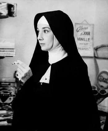 """Audrey Hepburn on the backstage of """" The Nun's Story """",1959."""