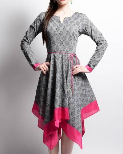 Grey And Pink Mangalgiri TunicI Shop at:http://www.thesecretlabel.com/ans-by-astha-n-sidharth