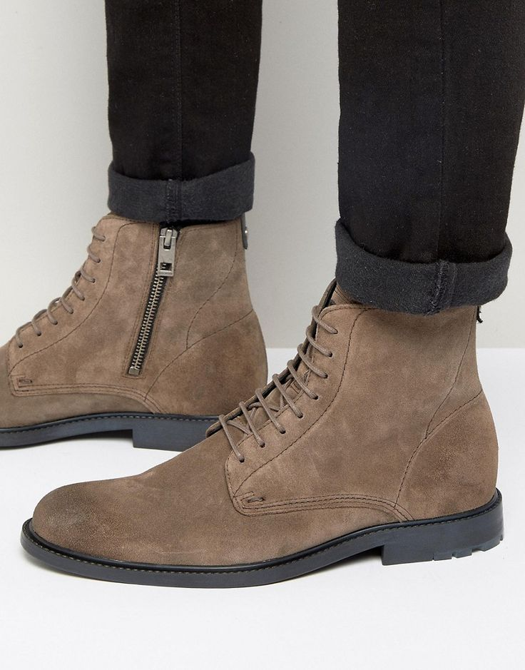 BOSS ORANGE BY HUGO BOSS CULTROOT SUEDE LACE UP BOOTS - GRAY. #bossorange #shoes #