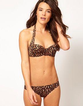 Image 4 ofASOS Mix and Match Halter Leopard Print Bikini Top