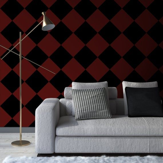 Dark Red Black Rhombus Peel Stick Wallpaper Geometric Self Adhesive Wall Mural Minimalist Decal Tiles Temporary Wall Decor Peel And Stick Wallpaper Grey Striped Wallpaper Temporary Wall Decor
