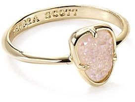 Kendra Scott Pink Druzy and Gold Haylee Ring