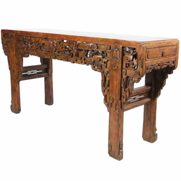 Altar Decoration For Chairs: Massive Intricately Carved Antique Chinese Altar Table In