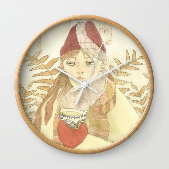 Fog in the woods Wall Clock