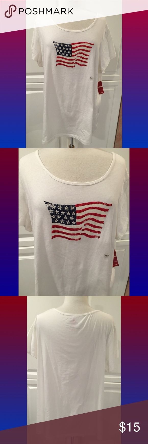 Avenue 'Americana' Short sleeved shirt with American flag on the front & plain back.  Never worn. Tag reads 22/24.  Firm. Avenue Tops Tees - Short Sleeve