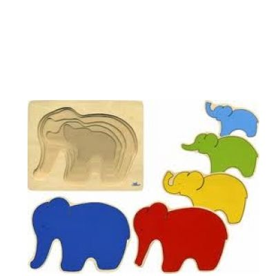 Houten Lagenpuzzel Olifant Goki - Educatief speelgoed – Educatoys.nl