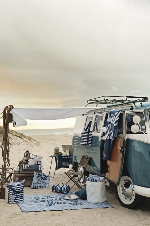 Seaside camping, before sand stirs up this stylish tableau