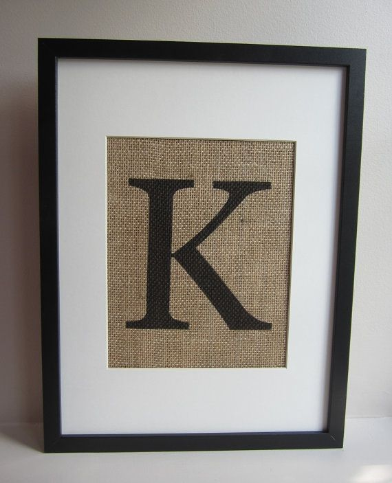 """Burlap Monogram Wall Decor - Print 8"""" x 10"""" - All Letters Available - Capital or Small - Canvas Wall Decor on Etsy, $17.00"""