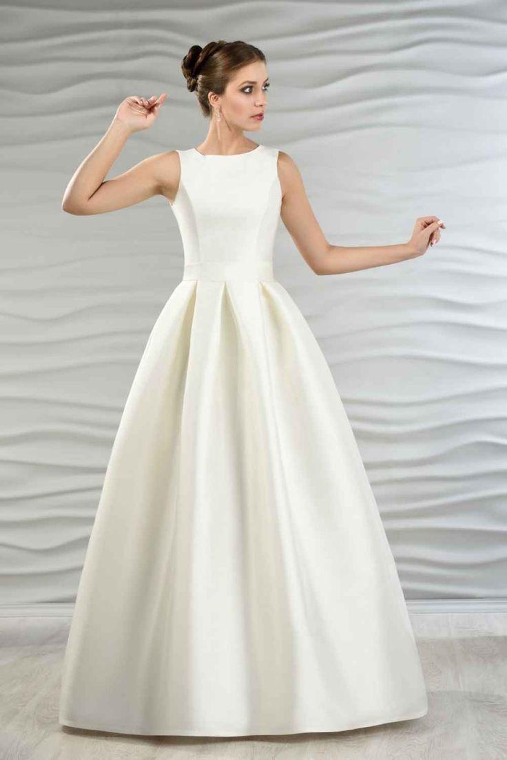 Satin Brautkleid mit Kellerfalten  Hochzeitskleider vintage