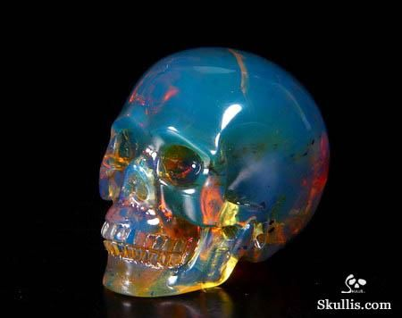 Blue Amber Crystal Skull ~ The skull is 1.3 inches long, from front to back.