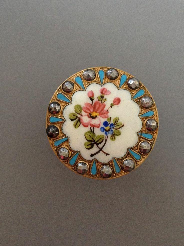 Antique French Enamel Button Pretty Floral Design Turquoise Enamel & Cut Steel