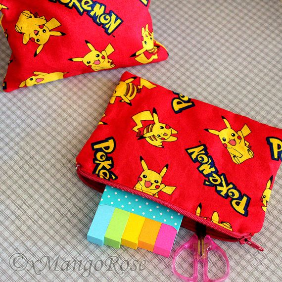 Pokemon Bag with Pikachu, Pocket Monsters Gift for Her, Geek Gifts, Anime, Red, Pouch, Purse, Coin, Wallet, Zipper, Case, Makeup