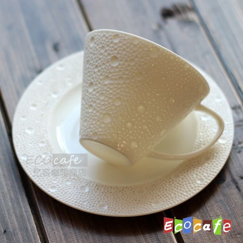The new export French designer a sense of romantic drops high temperature white porcelain coffee cup and European cup set cup and saucer-ZZKKO