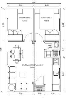 Planos Casas de Madera Prefabricadas: Plano de casa de Madera 40 m2 Cod 2002