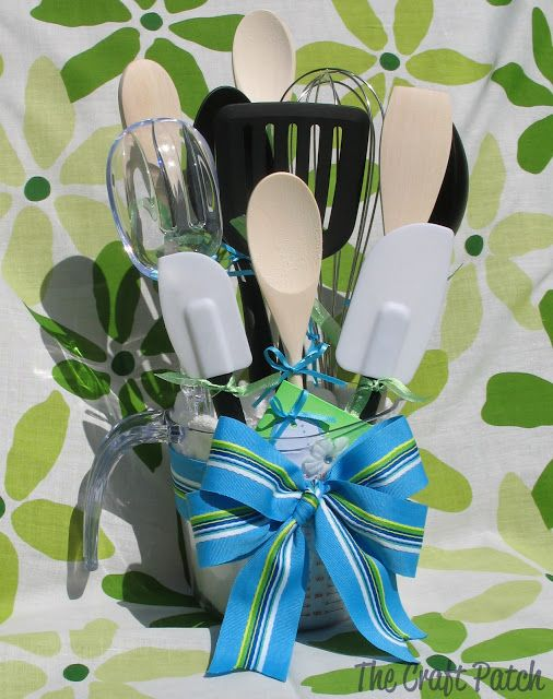 Kitchen Utensil Bouquet. Great wedding gift and easy to make!  Check out your local Goodwill for supplies! www.goodwillvalleys.com/shop