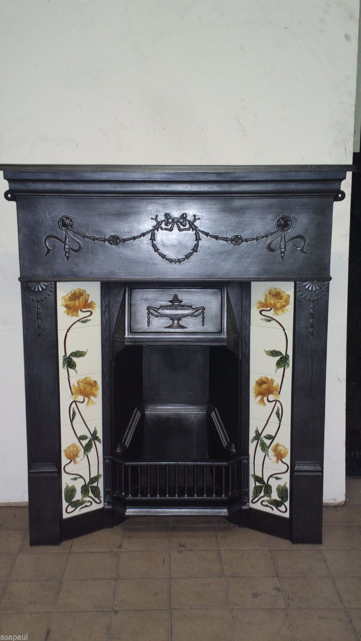 flower fireplaces fire sale antiques c dated depicts l id fireback furniture f and building grate art at basket for with is a mantels accessories fireplace garden nouveau