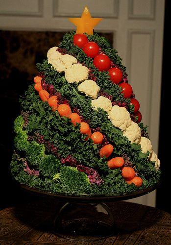 Christmas Tree Crudite'. The base is two green cabbages- one large one on the bottom and a small one skewered to it on top.