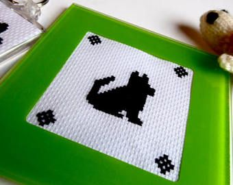 Handmade Cross Stitch Dog Silhouette Glass Coaster with Green Border