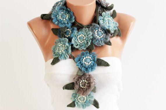 lariat collana sciarpa sciarpa collana fiore all'uncinetto