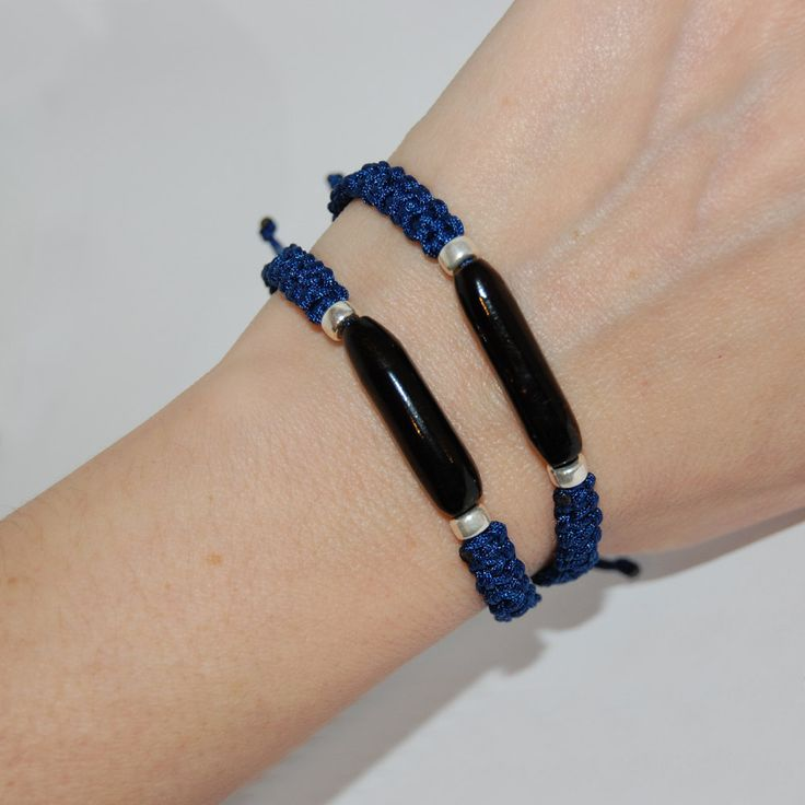 Macrame handmade bracelets, Black coral macrame, Unisex bracelet, Mix and Match bracelets, Blue thread macrame, Gift for him, Gift for her. by kreitto on Etsy