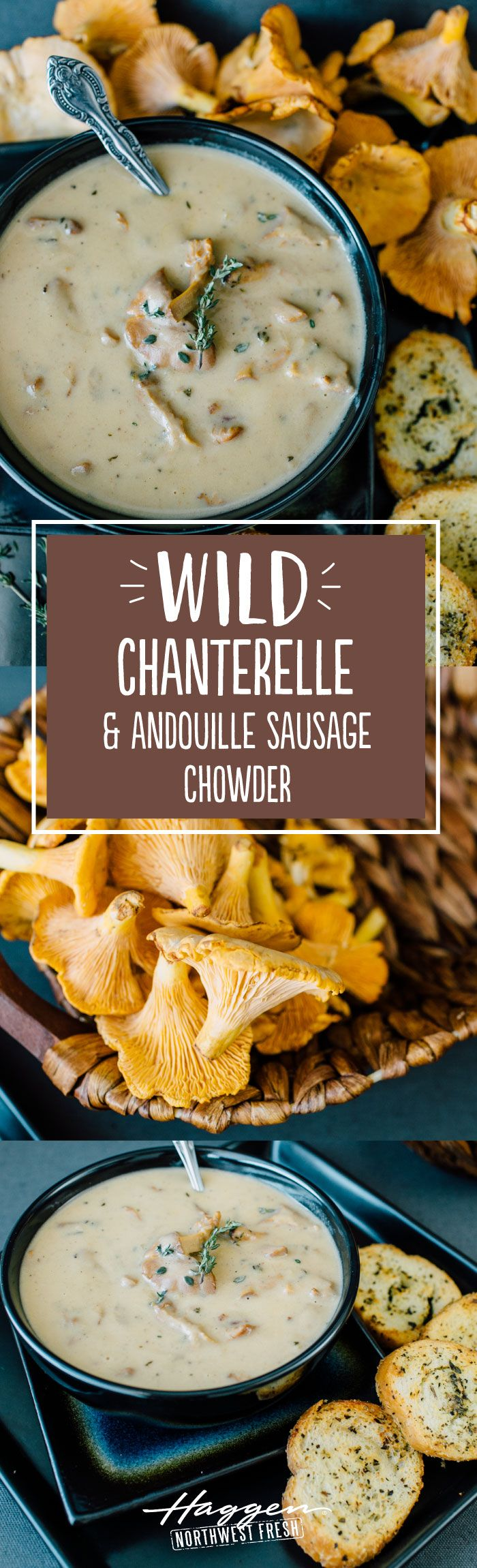 Wild chanterelle and andouille sausage chowder
