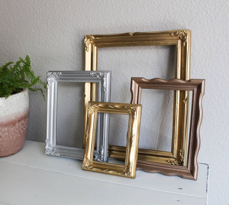Vintage Metallic Open Back Frame Set - 4pc Vintage Open Back Gallery Wall Frame Set in Gold Silver and Rose Gold by TeamSuttonDesigns on Etsy