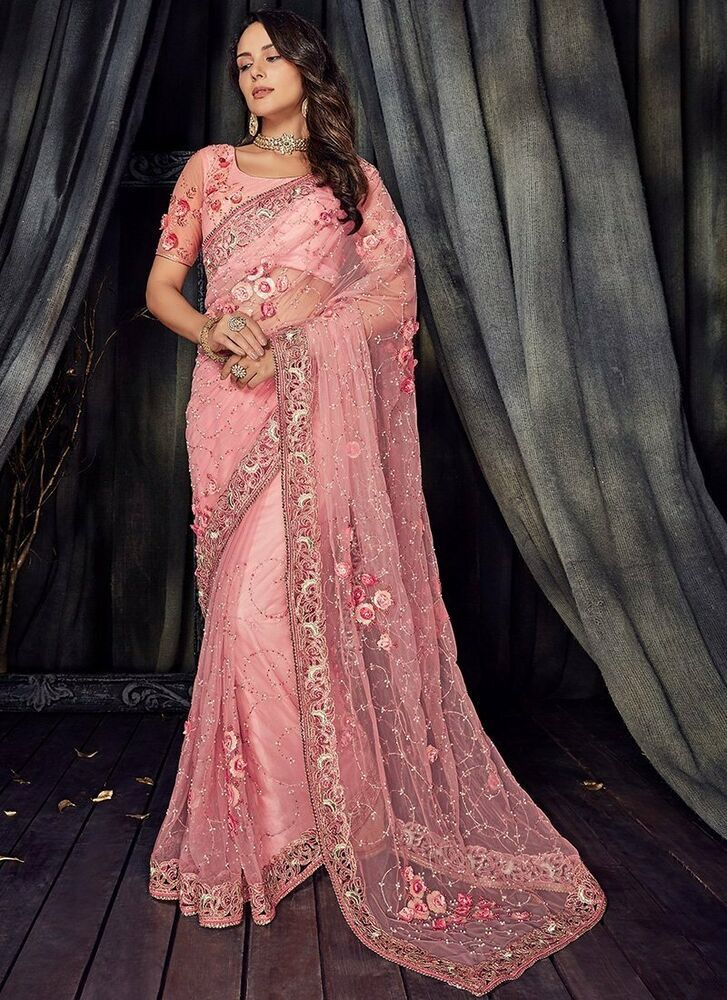 Indian Wedding Saree Stone Crystal Embroidery Border Pure Net