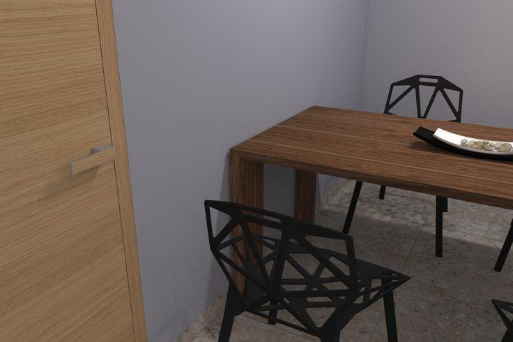 """...legendární židle """"one"""" od značky magis dodá kuchyni dynamiku. Klika dveří je od českého výrobce M&T, která vyhrála cenu za design red dot. Petr Molek interiérový design www.ockodesign.cz"""