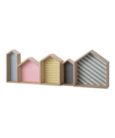 Look at this #zulilyfind! Multi-Color Wood House Box Shelf #zulilyfinds