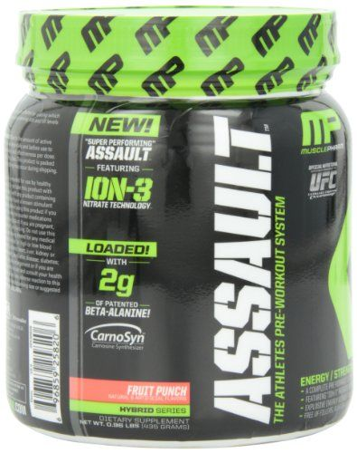 Try this -  Muscle Pharm Assault Pre Workout System Fruit Punch