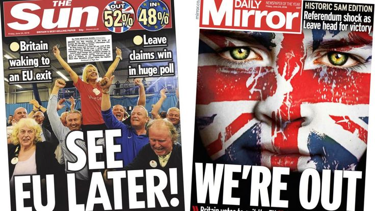 Newspaper headlines: 'See EU later' and Cameron resigns - BBC News