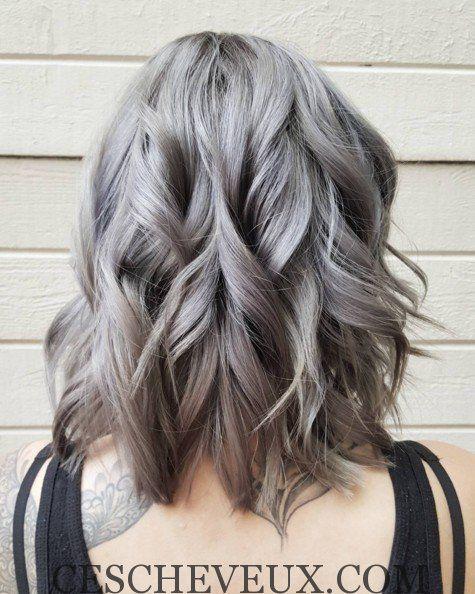 longueur paule onduls coiffure pour cheveux gris - Coloration Gris Acier