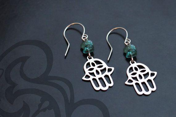Silver hamsa earrings with apatite stone