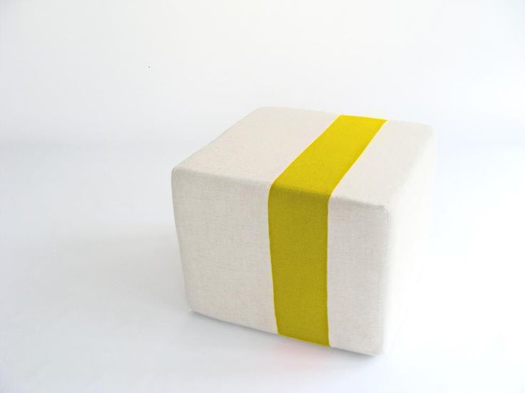 Floor Pouf/Natural Linen with Yellow Stripe/ Additional Seating/Unique ...