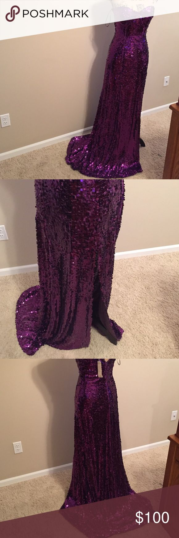 New with tags purple sequined evening gown size 6 New with tags purple sequined evening gown size 6. Strapless with side slit in skirt. From smoke free home and ships in one business day. Thank you!!' beautifly Dresses Prom