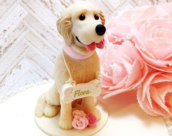 Golden Retriever Cake Topper Blond Golden by DogCakeTopper on Etsy