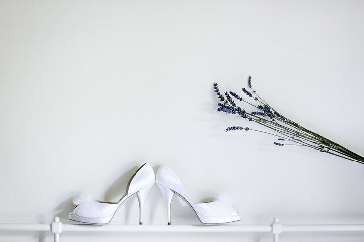 BEautiful white wedding shoes with high heels!