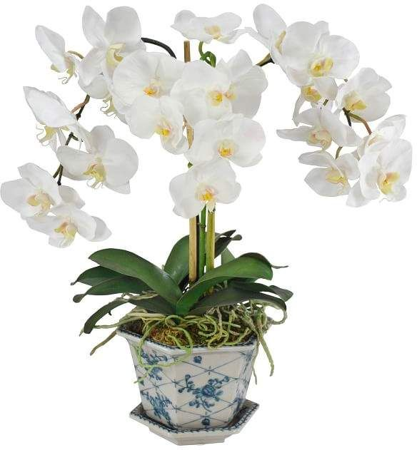 Faux Orchid In Cachepot In 2020 Faux Hydrangea Orchids Artificial Flowers