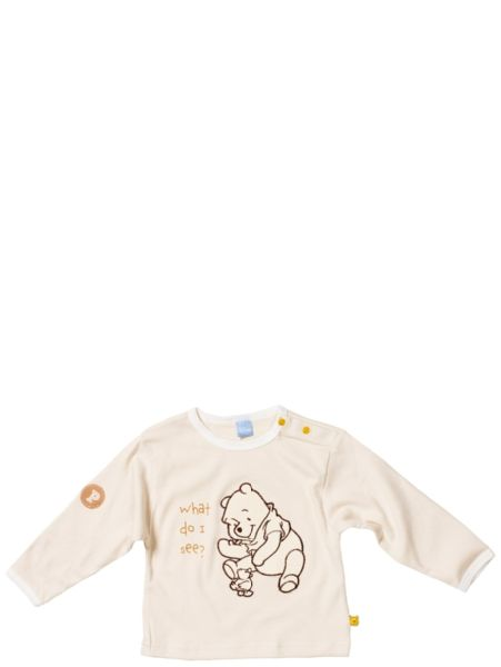 Pitkähihaisessa, beigessä Nalle Puh t-paidassa on hellyttävä applikointi edessä ja hauskana yksityiskohtana iloiset Puh-napit! Sataprosenttista puuvillaa, pesu 40 asteessa.