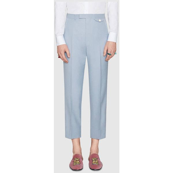 Gucci Wool Mohair Pant With Loop Details (£765) ❤ liked on Polyvore featuring men's fashion, men's clothing, men's pants, men's casual pants, mens military cargo pants, mens light blue pants, mens wool pants, gucci mens pants and mens white pants