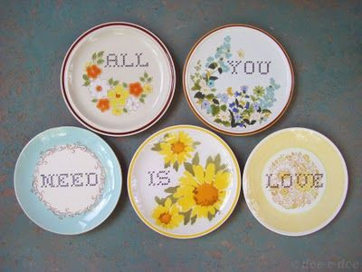 Use a ceramic paint pen to write words on thrifted plates