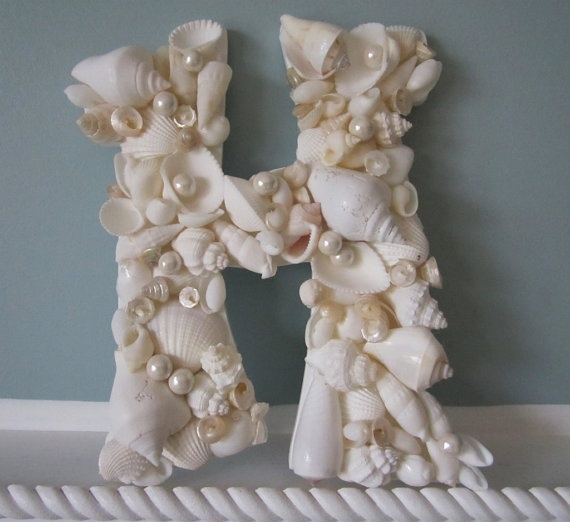 Shell letters for beach decor nautical decor seashell Diy home decor with shells