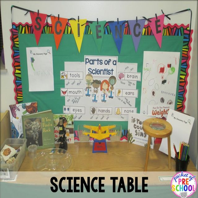 science table in my discovery center is filled with ideas of what you can add to your science table.