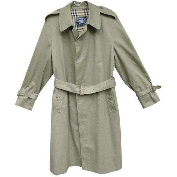 Pre-owned Burberry Trenchcoat (18.925 RUB) ❤ liked on Polyvore featuring men's fashion, men's clothing, men's outerwear, men's coats, khaki, men clothing coats, mens rain trench coat, mens khaki coat, mens raincoat trench coat and burberry mens coat