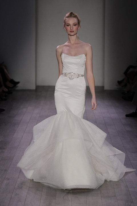 4736abfed7f Alvina Valenta white oyster silk faced duchess trumpet bridal gown with a  skirt of cascading horsehair edged tulle. Strapless soft scooped neckline.
