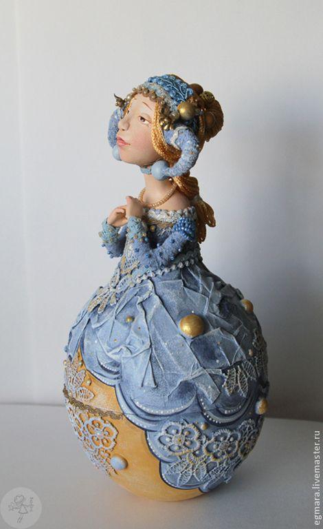 Купить Мечтательница - голубой, кукла ручной работы, кукла в подарок, шкатулка, подарок, подарок девушке