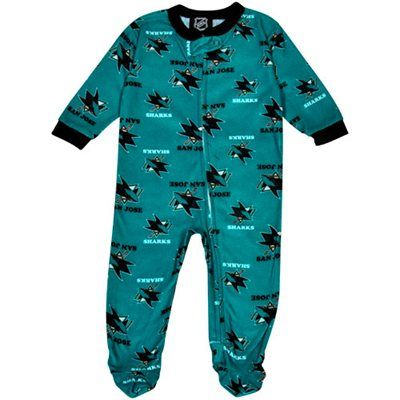 San Jose Sharks Infant Logo Print Blanket Sleeper - Teal